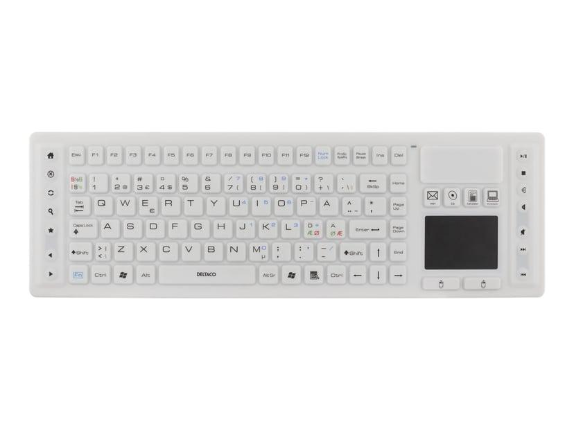 Deltaco TB-507 silikon IP65 touchpad Trådlös Tangentbord Vit