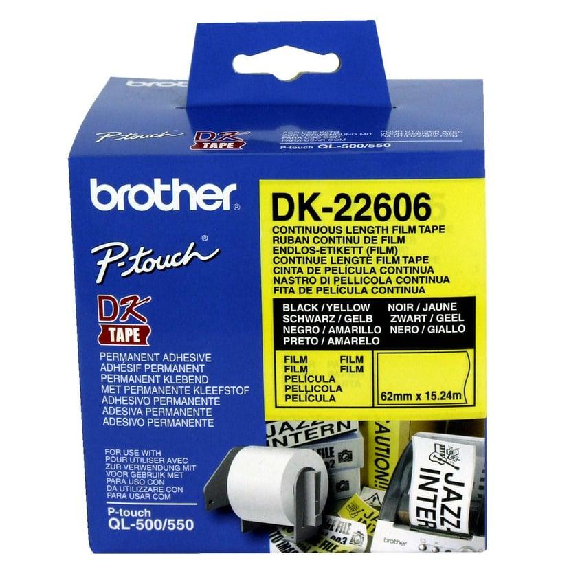 Brother Tape Width Plastic Sort/Gul 62mm X 15.24m