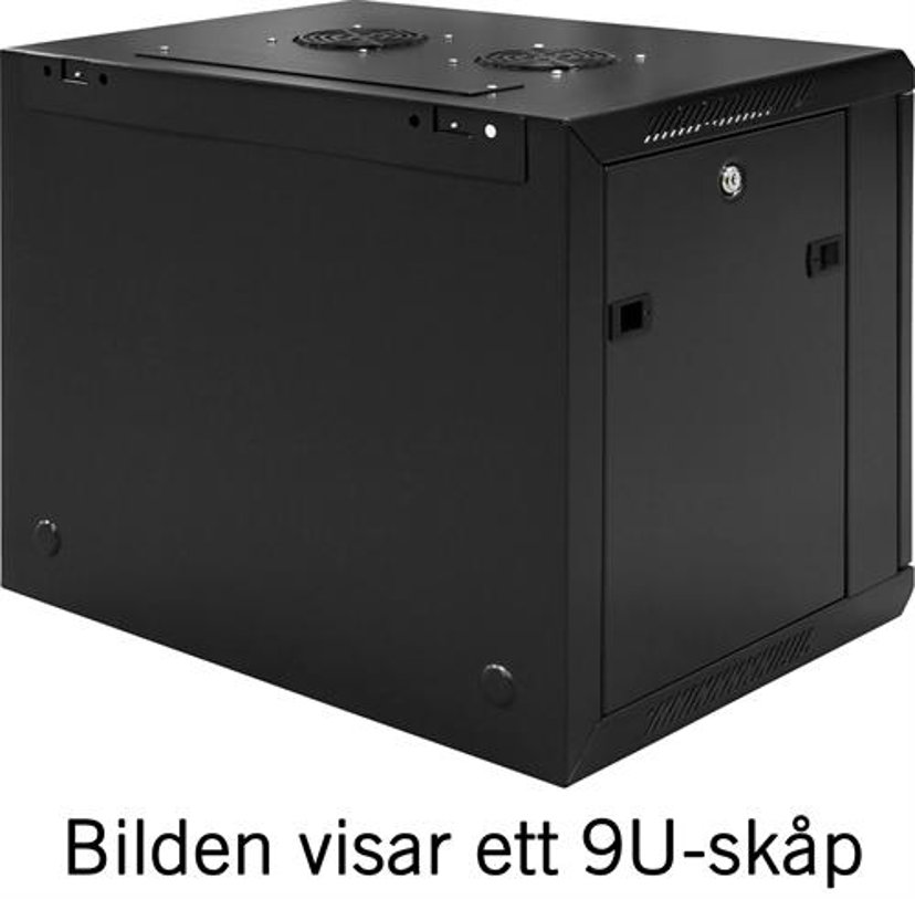 """Toten 19"""" Wall Cabinet 12U 600X450 Glassdoor Black"""