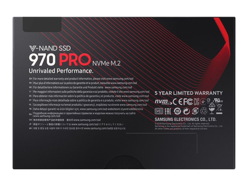 Samsung 970 PRO MZ-V7P1T0BW 1000GB PCI Express 3.0 x4 (NVMe) M.2 2280