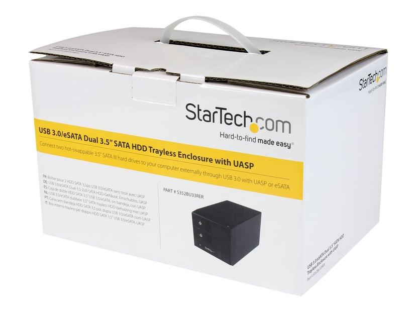 "Startech USB 3.0 / eSATA Dual-Bay Trayless 3.5"" SATA III Hard Drive Enclosure with UASP Serial ATA-600 Svart"