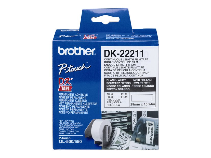 Brother Tape Plastic, 29mm X 15,24m Svart/Hvit
