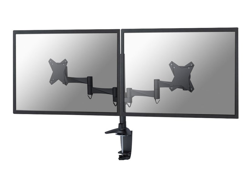 """Newstar Full Motion Dual Desk Mount (clamp & grommet) for two 10-27"""" Monitor Screens, Height Adjustable"""