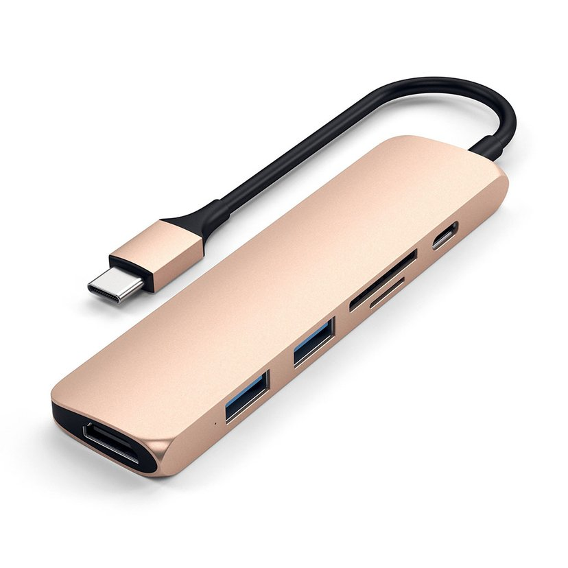 Satechi Slim USB-C MP Adap V2 HDMI USB 3.0 Cardreader Gold