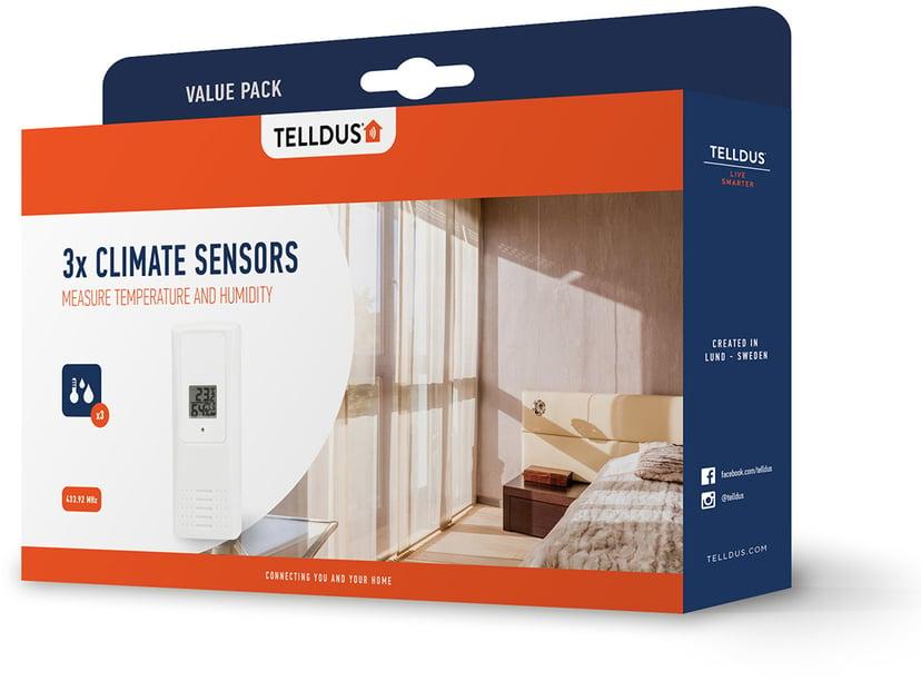 Telldus Temperatur- og fuktighetssensor 3-pack