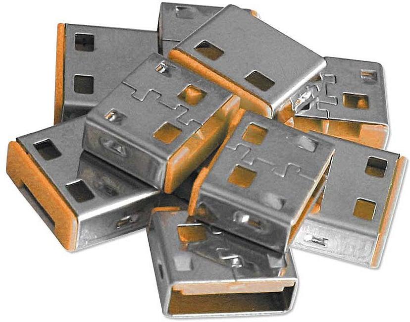 Lindy USB Port Blocker Orange 10-pack without key