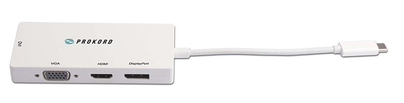 Prokord USB-C 4-In-1 VGA/DVI/HDMI/DP 4K Adapter USB-C Hann DVI-D, DisplayPort, HDMI, VGA Hunn Hvit