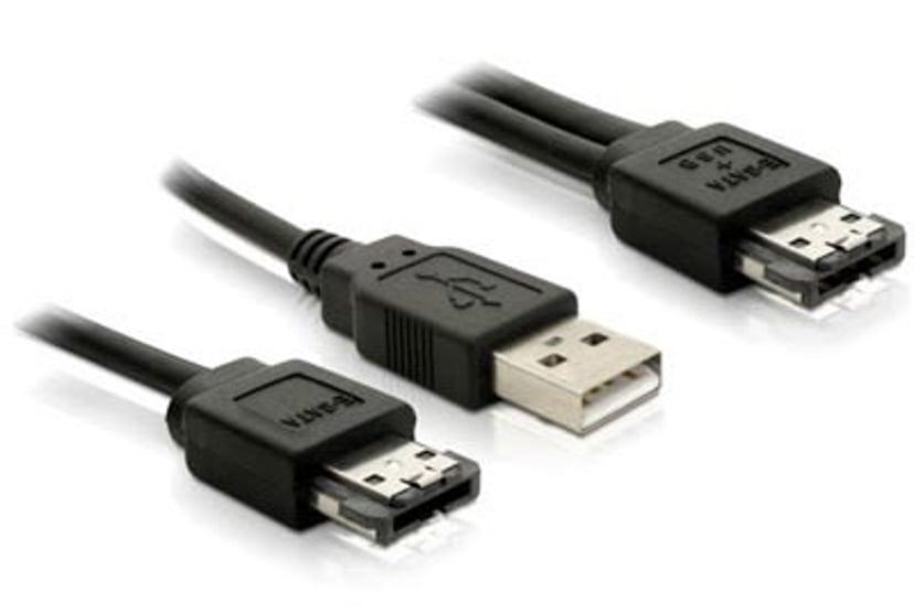 Delock Power Over ESATA Cable 1m 4-stifts USB typ A, 7-stifts extern seriell ATA 7-stifts extern seriell ATA Hane