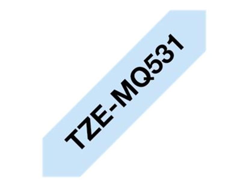 Brother Tape Svart/Pastell blå 12mm/4m