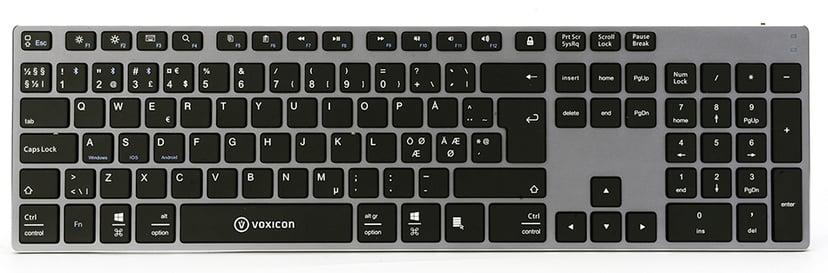 Voxicon BT 290 Trådløs Tastatur Nordisk Svart; Sølv