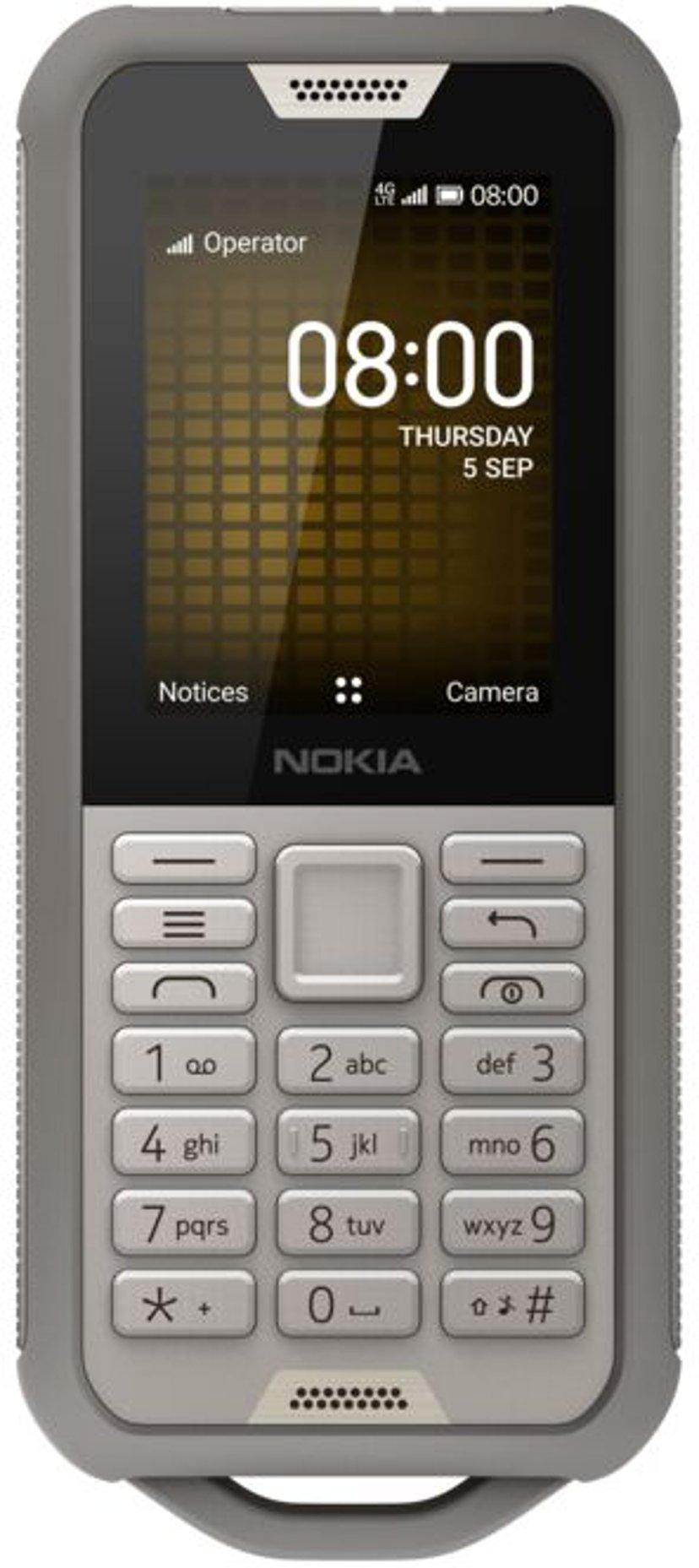 Nokia 800 Tough Dobbelt-SIM (SIM1 og SIM2/MicroSD-spor) Sand