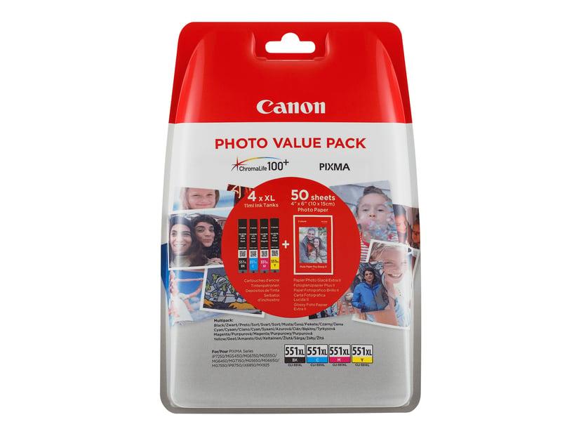 Canon Blekk Value Pack (BK/C/M/Y) CLI-551XL + Paper 10x15 PP 201 50-Sheet