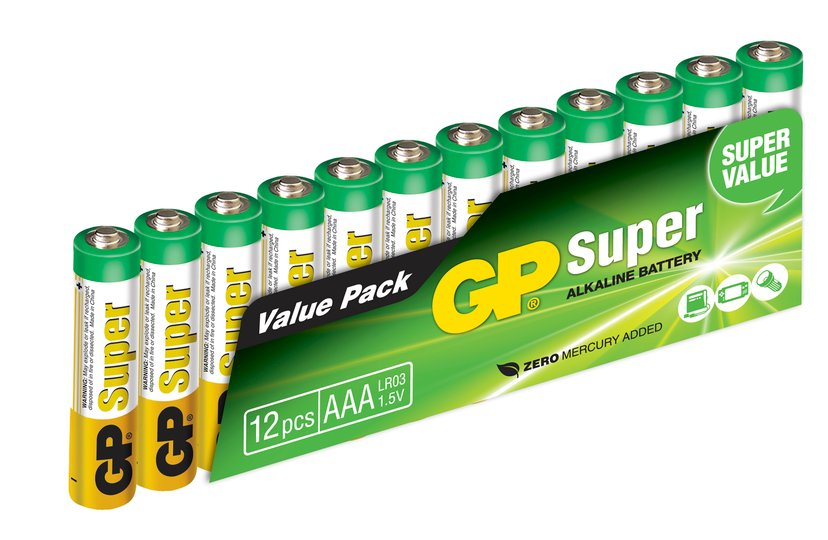 GP Power Batteri Super Alkaline 12pcs AAA/LR03