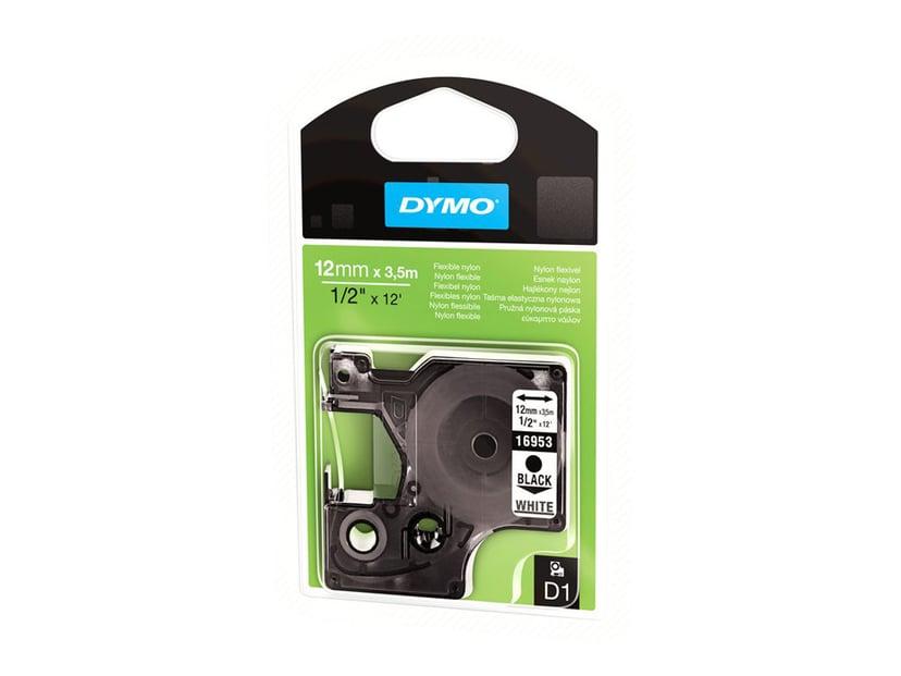 Dymo Tape D1 12mm Black/White Flexibel