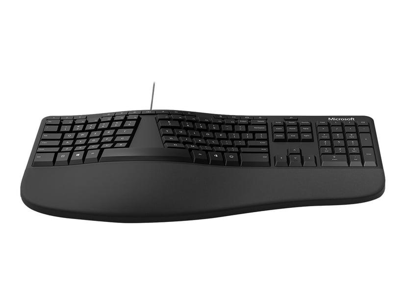 Microsoft Ergonomic Keyboard Kabelansluten Tangentbord Nordisk Svart
