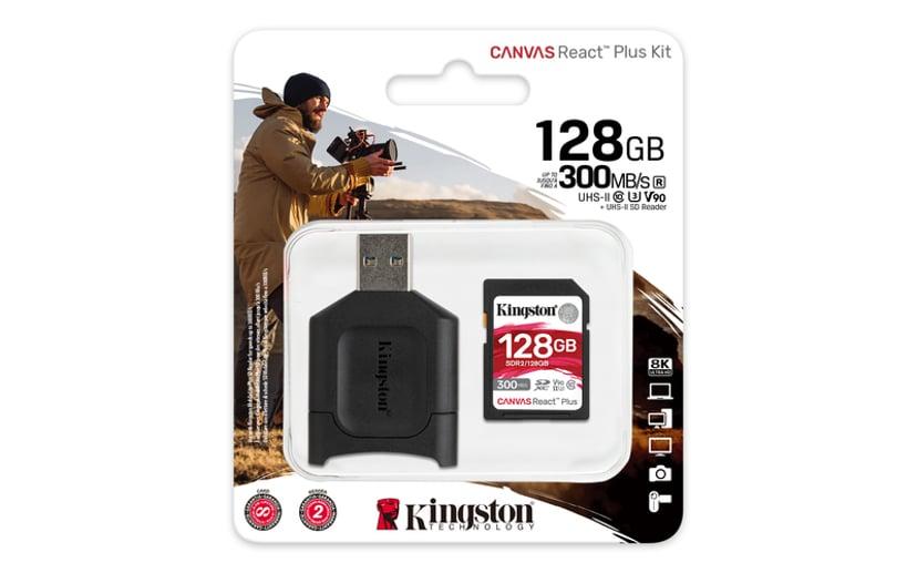 Kingston Canvas React Plus 128GB SDXC UHS-II minneskort