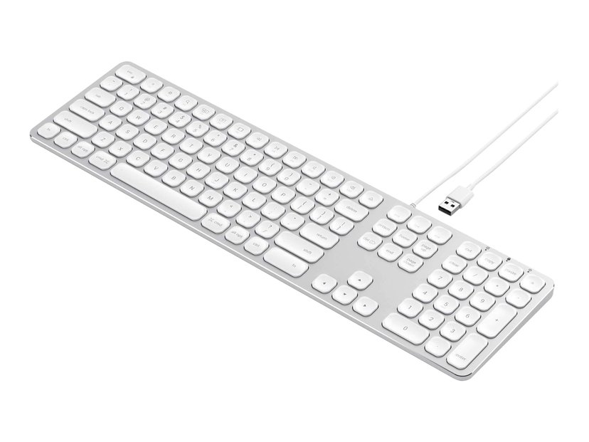 Satechi Aluminum Wired Keyboard Kabelansluten Tangentbord Nordisk Silver