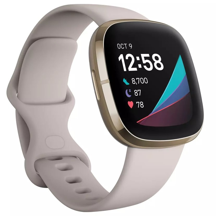 Fitbit Sense Lunar White/Soft Gold Aktivitetssporer Hvit