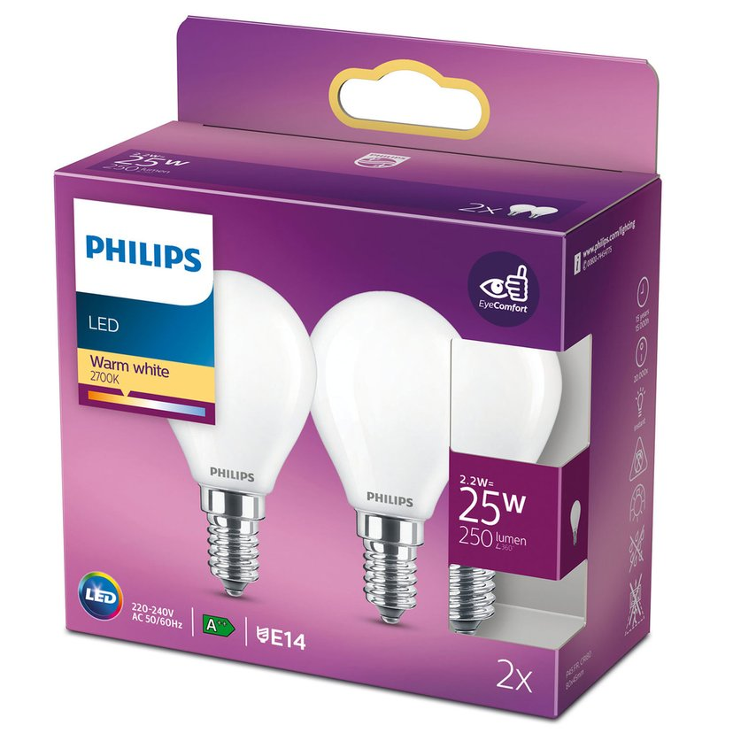 Philips LED E14 Klot Frost 2.2W 2-Pakk