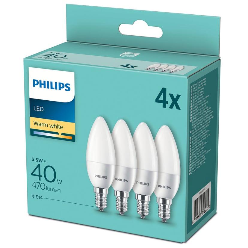 Philips LED E14 Kron Frost 5.5W 470Lm 4-Pakk
