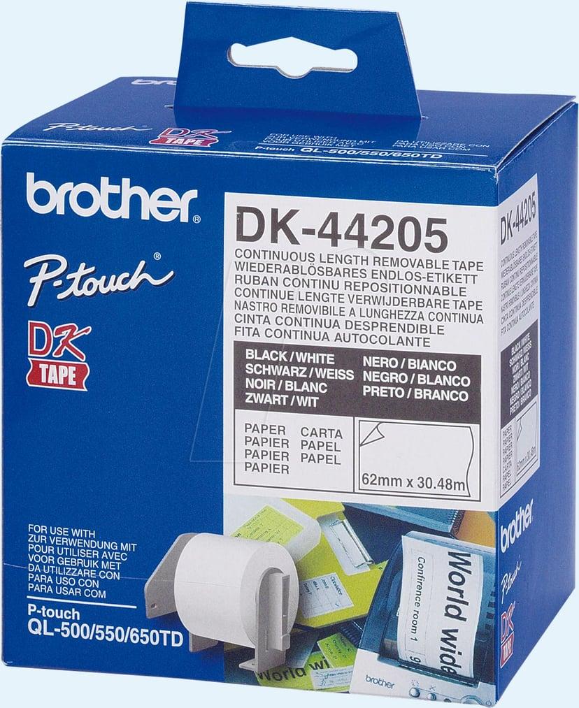 Brother Etiketter 62mm x 30.48m Avtagbar Vit