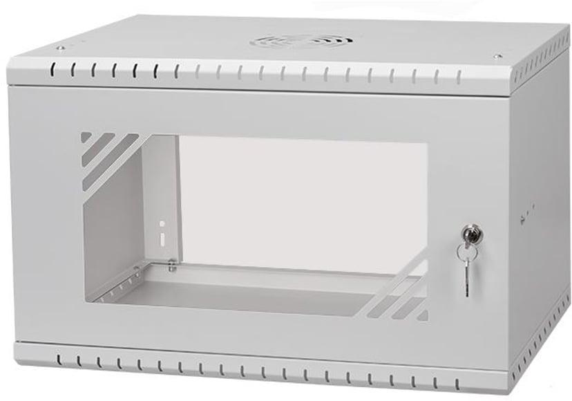 """Direktronik Wall Rack 19"""" 6U 35cm Glass Door Grey"""