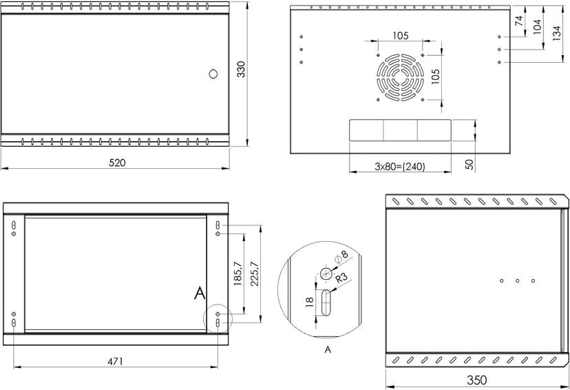 "Direktronik Väggrack 19"" 6U 35CM Metalldörr"