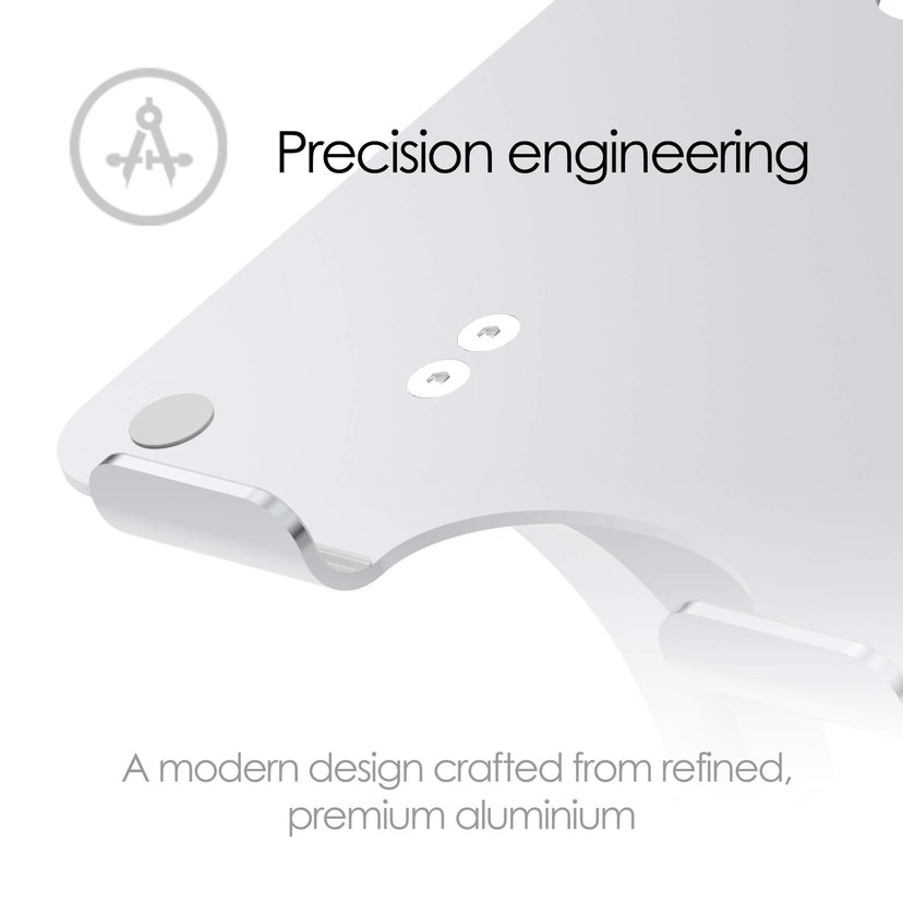 Desire2 Laptop Stand Dual Pivot Riser Adjustable Alu Silver