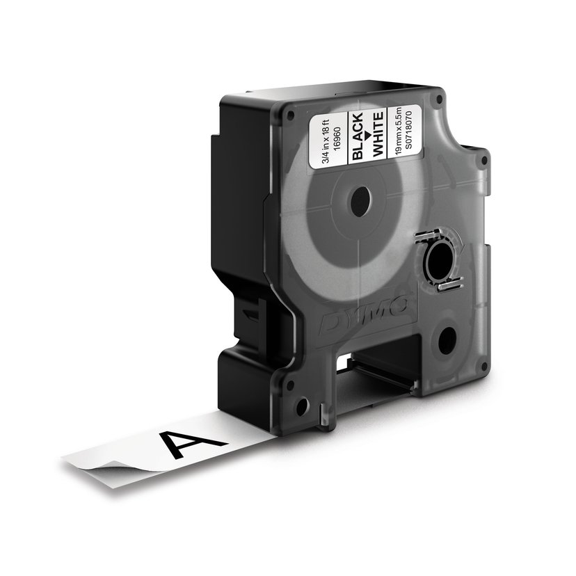 Dymo Tape D1 19mm Black/White Perm Poly