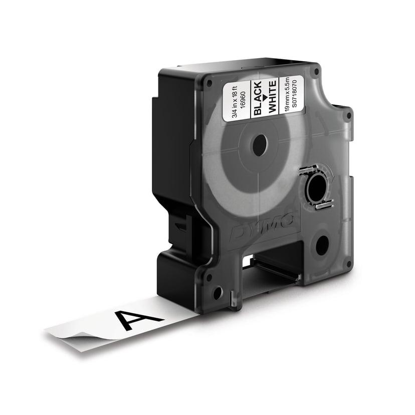 Dymo Tape D1 19mm Svart/Hvit Perm Poly