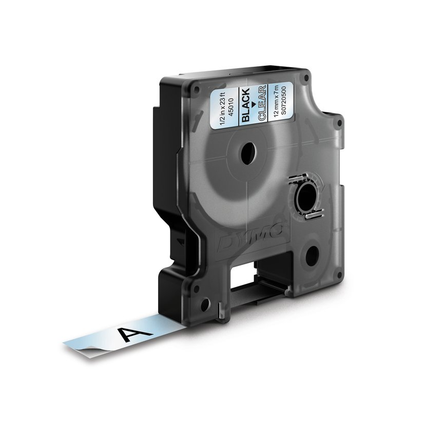 Dymo Tape D1 12mm Sort/Transparent
