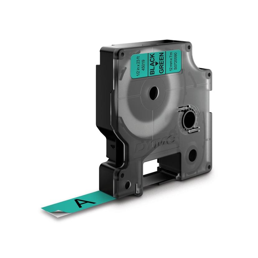 Dymo Tape D1 12mm Black/Green
