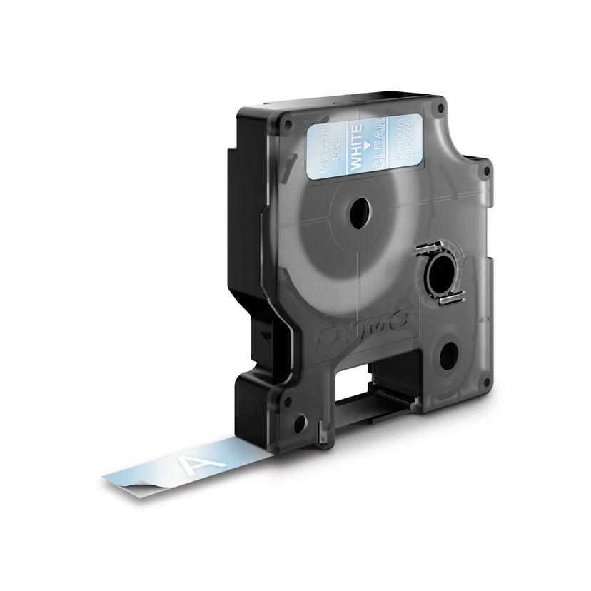 Dymo Tape D1 12mm Hvid/Transparent