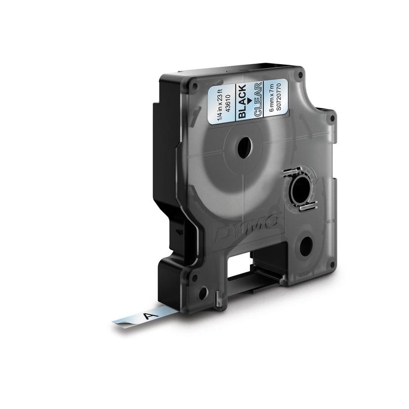 Dymo Tape D1  6mm Sort/Transparent