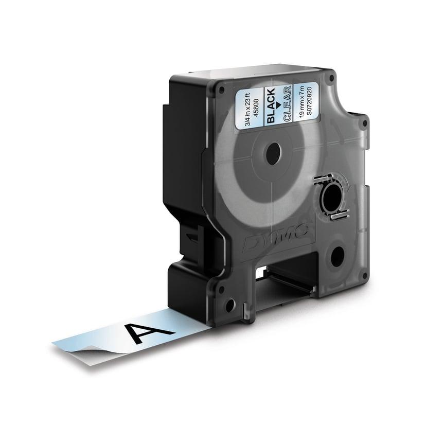 Dymo Tape D1 19mm Sort/Transparent