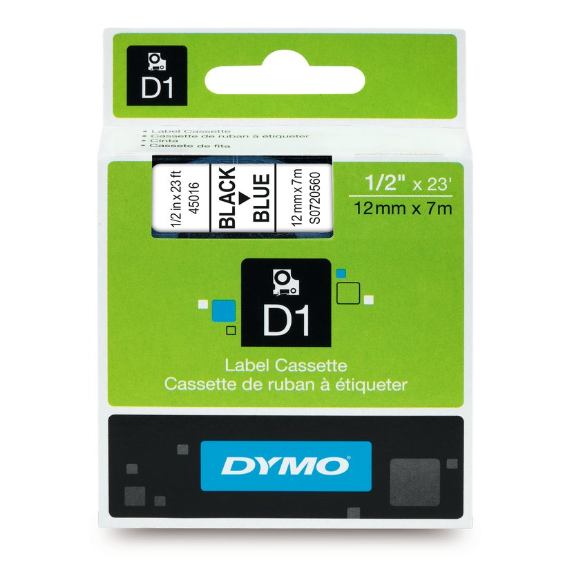 Dymo Tape D1 12mm Svart/Blå