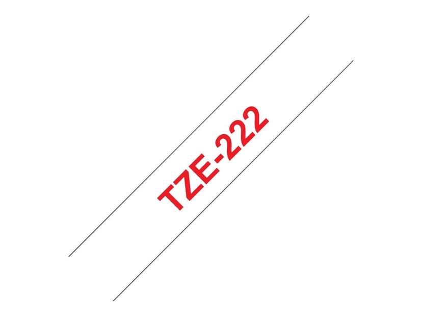 Brother Tape TZE-222 9mm Röd/Hvit