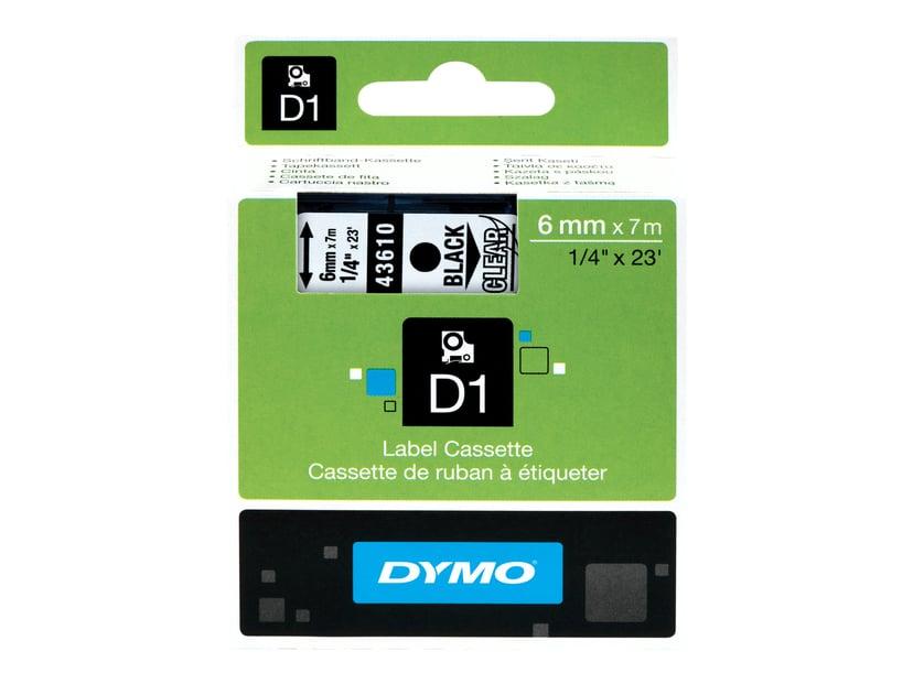 Dymo Tape D1  6mm Black/Transparent