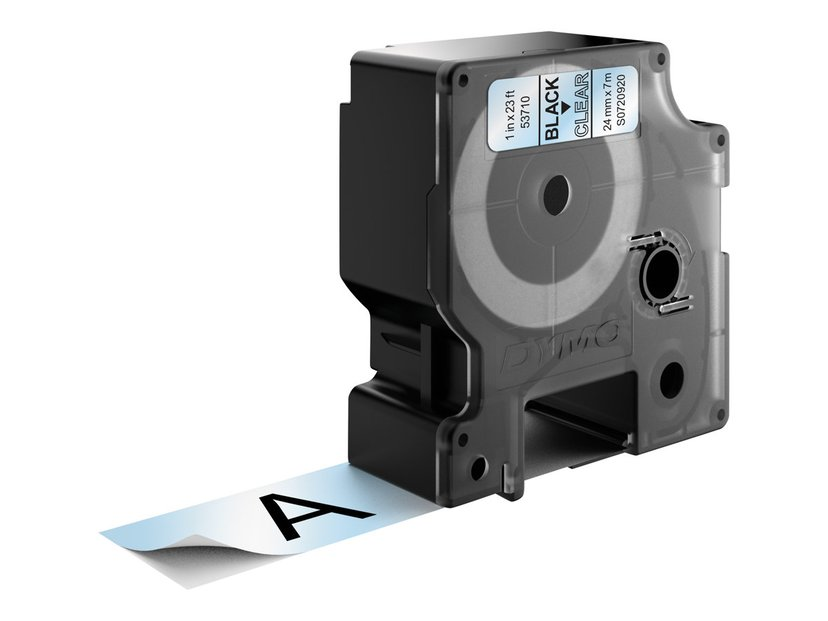 Dymo Tape D1 24mm Sort/Transparent