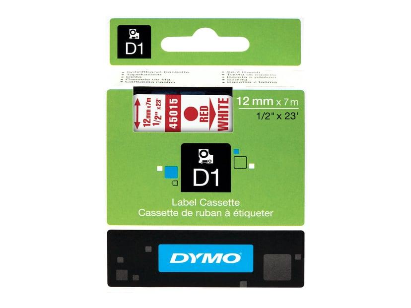 Dymo Tape D1 12mm Röd/Hvit