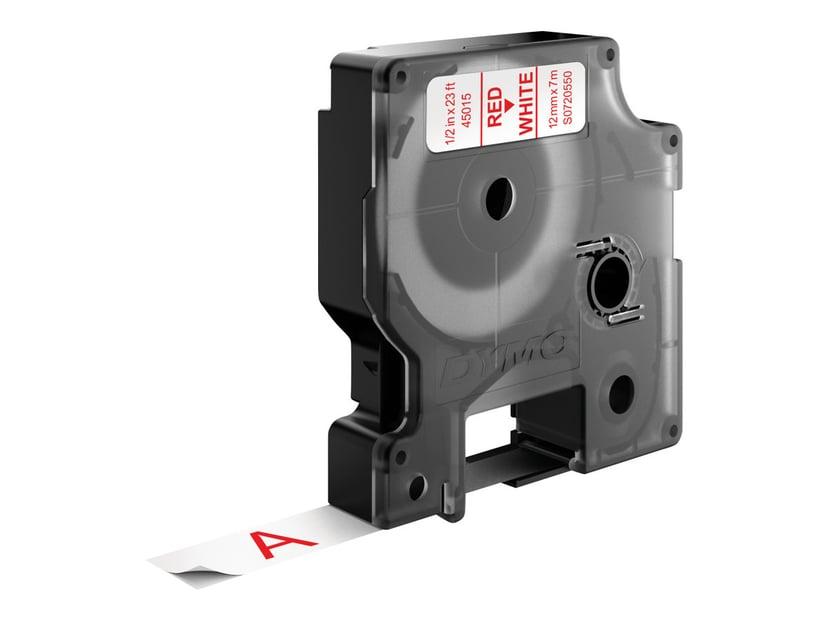 Dymo Tape D1 12mm Röd/Hvid