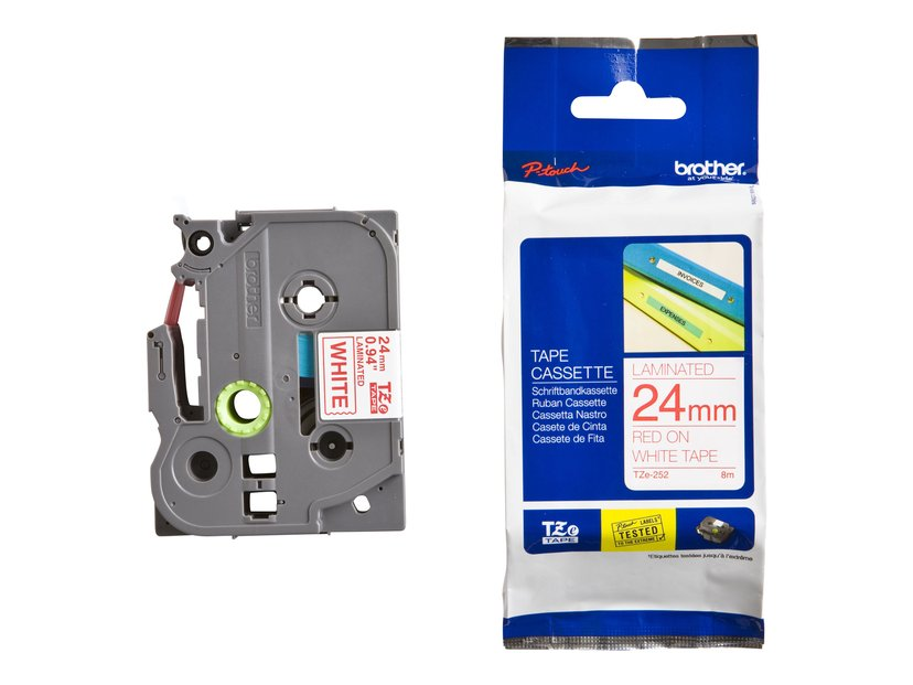 Brother Tape TZE-252 24mm Röd/Hvid