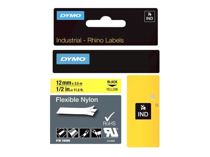 Dymo Tape RhinoPRO Flex Nylon 12mm Sort/Gul
