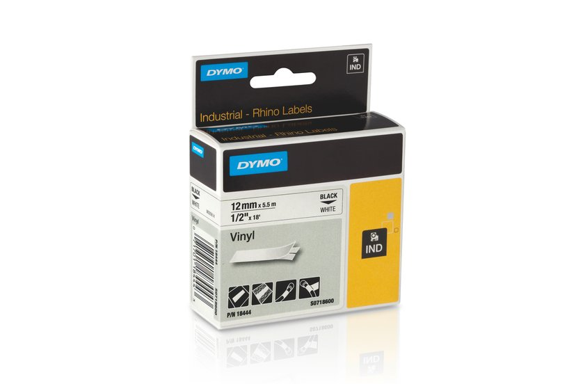 Dymo Tape RhinoPRO Vinyl 12mm Svart/Hvit