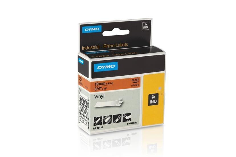 Dymo Tape RhinoPRO Perm Vinyl 19mm Svart/Orange