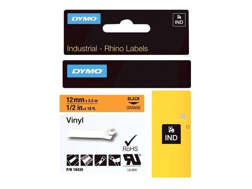Dymo Tape RhinoPRO Vinyl 12mm Svart/Orange