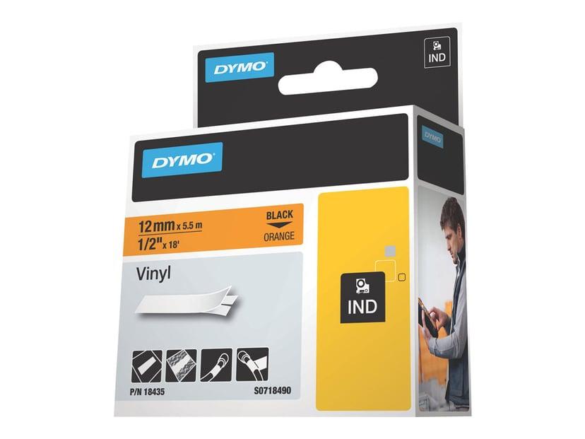 Dymo Tape RhinoPRO Vinyl 12mm Sort/Orange