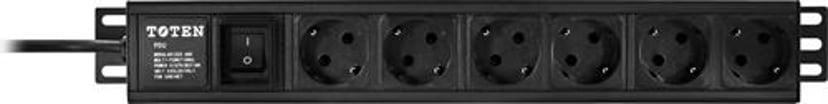 Deltaco Strømfordelingslist (kan monteres i rack) 6st CEE 7/4 strøm