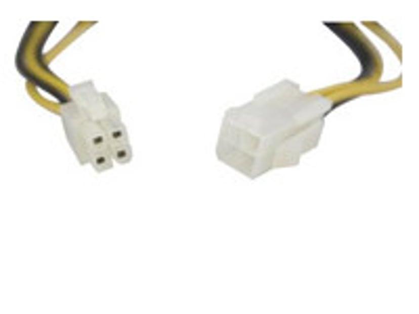 Deltaco Forlængerkabel til strøm 0.3m Effekt ATX12V 4-pin stik Han Effekt ATX12V 4-pin stik Hun