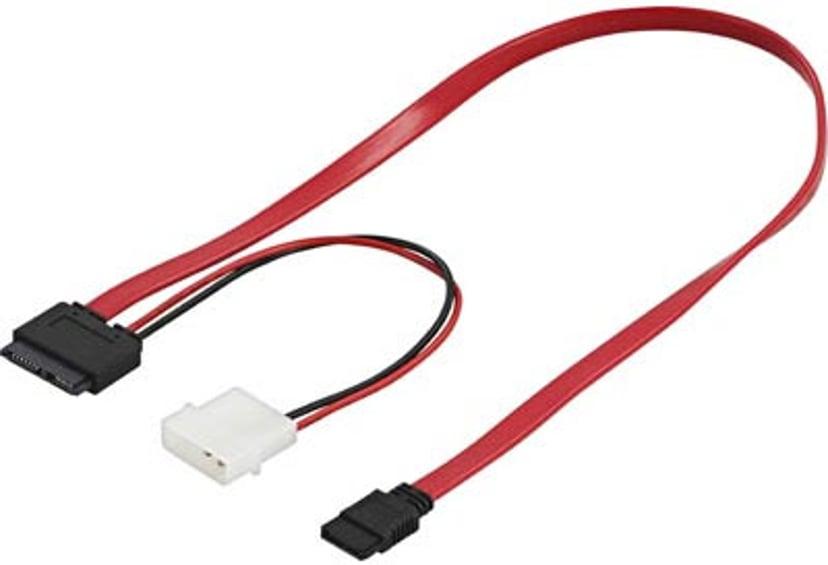 Deltaco SATA-11 0.5m 13-pins Slimline seriell ATA Hunn 4-pins intern strøm (5V), 7-pins seriell ATA